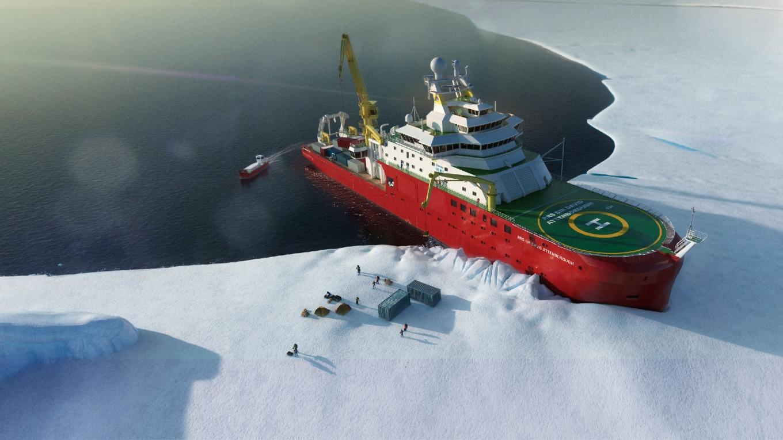 UK's polar research flagship Sir David Attenborough with Red Rock Davits